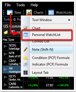 "1. Click ""New"" and ""Personal Watch-List"""